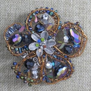Chico's Wrapped Wire Rhinestones Large Floral Pin